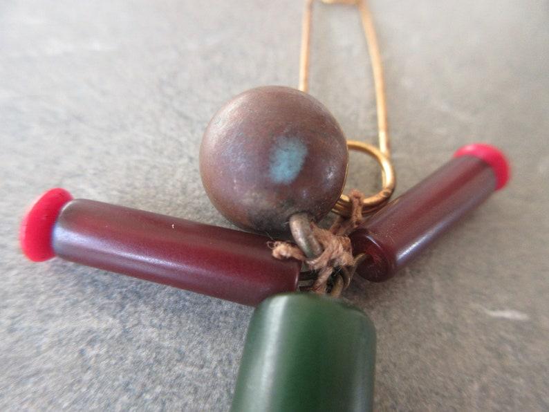 Plastic Bead Man on Pin Vintage Accessory Bakelite Beads Man Pin Vintage Beaded Figure Pin