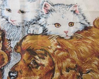 Vintage 1977 Tea Towel, Cats Towel, 1977 Calendar Towel, Kittens and Puppies, Linen Tea Towel, 1970s Tea Towel, Retro Linen Kitchen Towel