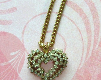 VINTAGE NECKLACE, Rhinestone Heart, Gold Chain