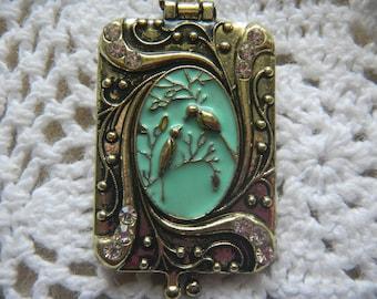 Vintage Style Antique Brass Locket. Green Enamel and Rhinestones. Gold chain