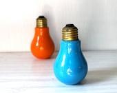 Vintage Japan Lightbulb shaped ceramic salt and pepper shaker set blue and orange