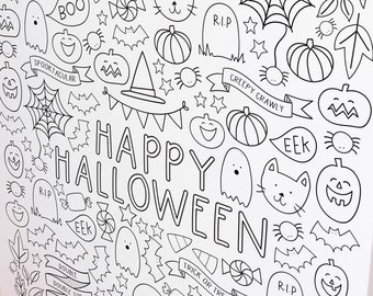 HUGE Halloween Printable Kids Coloring Poster and Halloween Coloring Page Printables