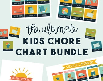 Ultimate Blue Kids Chore Chart Bundle - Calendar and Chore Charts for Kids