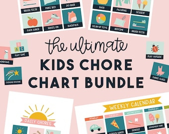 Ultimate Pink Kids Chore Chart Bundle - Calendar and Chore Charts for Kids