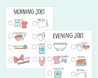 Kids Chore Chart Printable Morning and Evening  AZ105