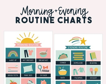 Kids Chore Chart - Morning Evening Routine Chart - in Pink Color Scheme