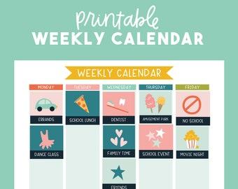 Kids Weekly Calendar Planner - Printable Calendar for Kids - Pink Version