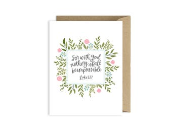 Sympathy card grief card infertility card cancer card etsy with god nothing is impossible card infertility card cancer card encouragement card m4hsunfo
