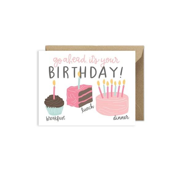 Cake For Breakfast Birthday Card Az488 Etsy