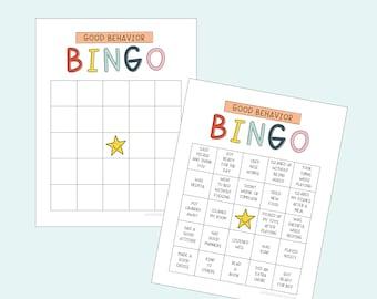 Good Behavior Bingo Printable Chart - Behavior Reward - Chore Chart - Responsibility Chart