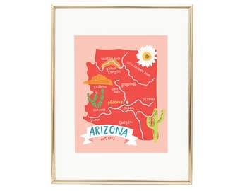 Map of Arizona - Illustrated Map Print - AZ Wall Art
