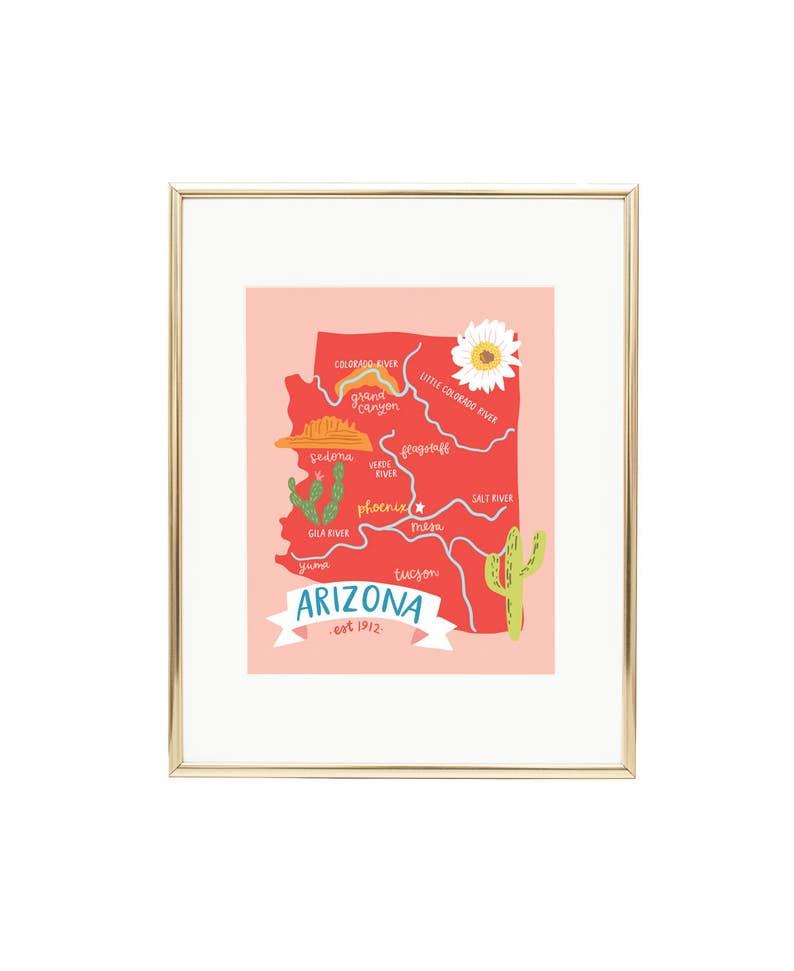 Map of Arizona Illustrated Map Print AZ Wall Art | Etsy Wholesale Gl Vases Phoenix Az on