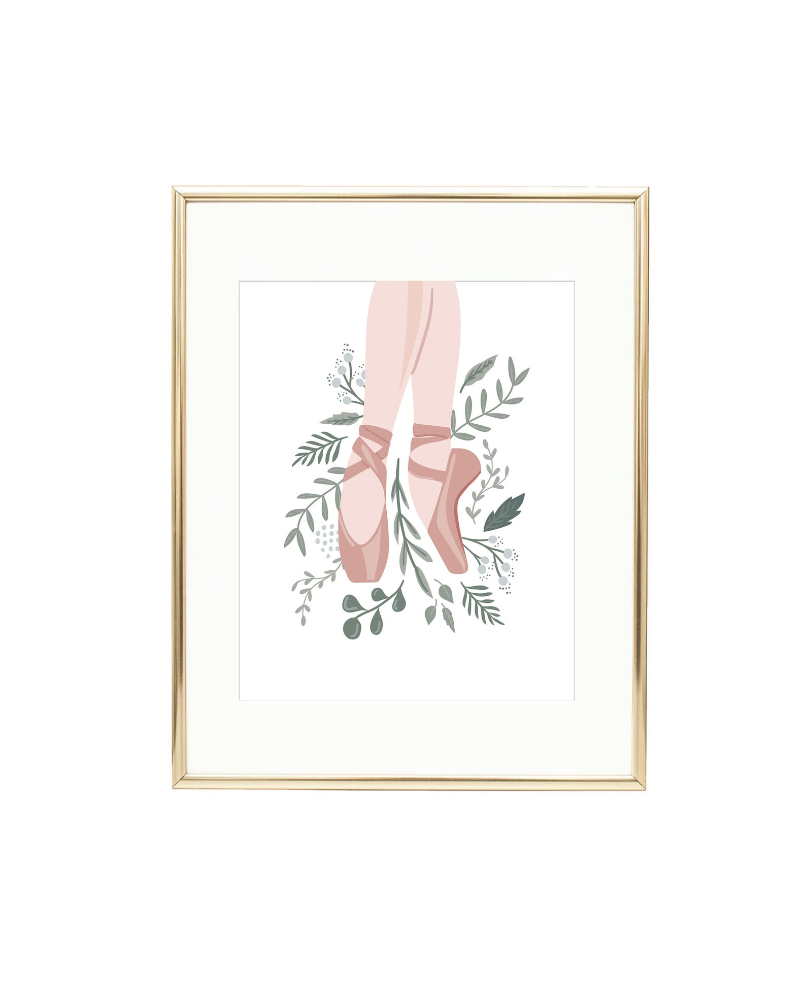 ballet shoes floral art print