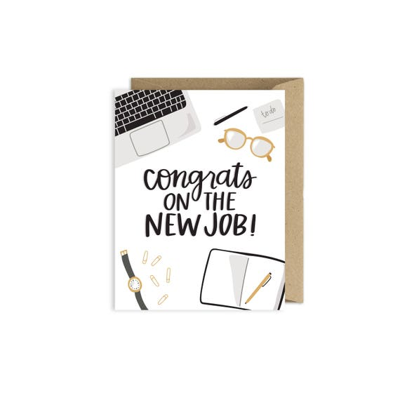 Congrats on the new job greeting card etsy image 0 m4hsunfo