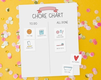 Kids Chore Chart Printable Cards - Morning, Night, School Routine Chart