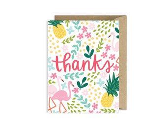 Tropical Pineapple Flamingo Thank You Card
