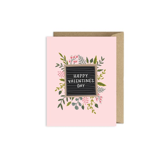 Happy Valentines Day Letter Board Floral Card Etsy