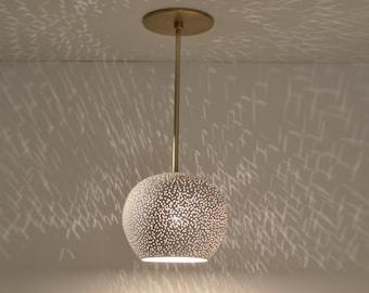 CLAYLIGHT PENDANT with Brass Rod : Ceiling Fixture | Ceramic Lighting | Minimalist Pendant Lamp