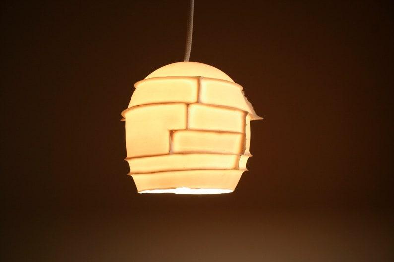 Translucent Porcelain LED Lighting SPIKES PENDANT Unique Ceiling Light