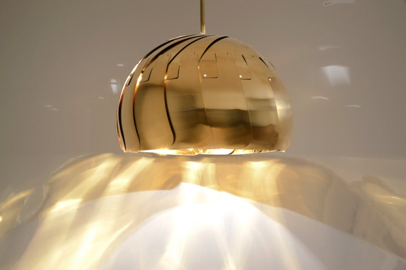 LARGE IRIS PENDANT : Brass Pendant Light  Stainless Hanging image 0