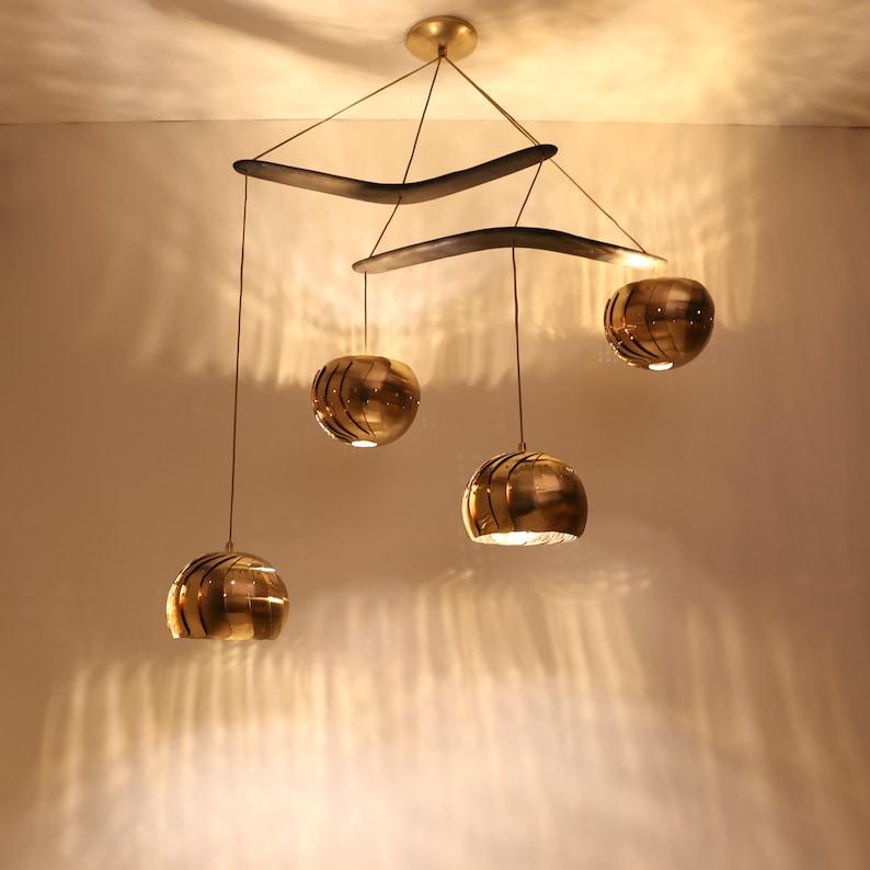 IRIS CHANDELIER : Brass Light Fixture  Adjustable LED image 0