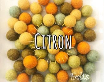 W-360PC 2CM CITRON Collection Felt Balls