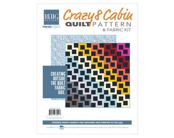 Quilt - CRAZY8CABIN Lotus Fabric Bundle & Pattern - BEHG DESIGNS for Premier Prints