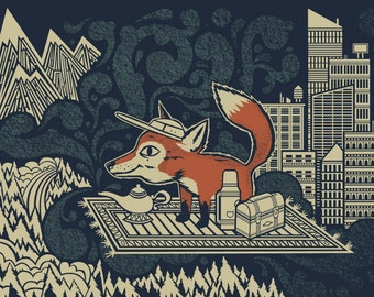 Fox Weekend Screen print - Fox Print 18x24