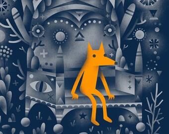 Golden Wolf - Archival Digital Print - 11x14 or 16x20