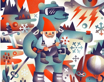 Quest - Bear and Gnome Skiing Adventure Print! - Archival Digital Print - 11x14 or 16x20