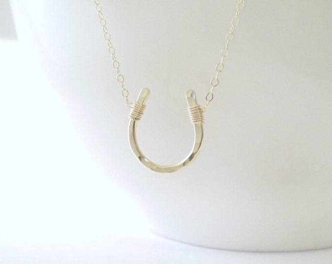 Luck Necklace - Horseshoe Necklace - Simple Hammered Horseshoe on Delicate Gold Filled Chain - Rose gold filled - Sterling Silver