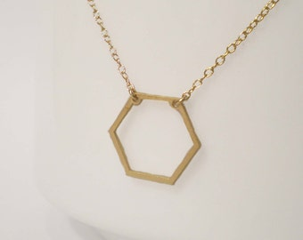 Hexagon Necklace - Geometric Necklace - Delicate Hexagon Charm