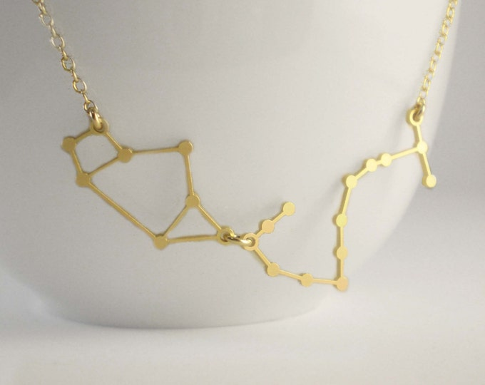 Stars Aligned - Two Constellations Necklace - Zodiac Constellation - Choose any Two Signs - Constellation Necklaces, Stars, Astrology