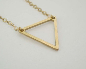 Triangle Necklace, Geometric Necklace, Strength Necklace, Triangle Charm