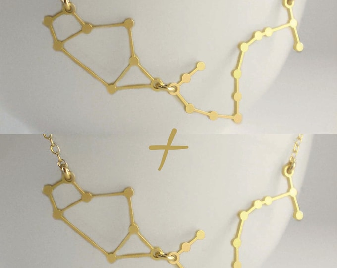 Best Friend Zodiac Necklaces - TWO Necklaces- Two Constellations Side by Side - Zodiac Constellations