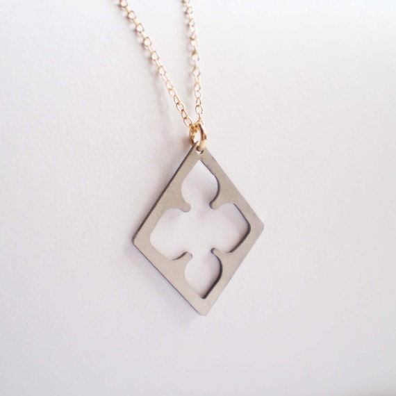 Long Diamond Clover Necklace, Long Necklace, Layering Necklace