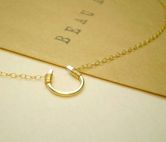 Tiny Luck Necklace , Tiny Horseshoe Necklace, Luck, Horseshoe, Handmade, Delicate Necklace