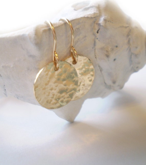 Hammered Disc Earrings - Beach Day Earrings - 14k Gold Filled, Rose Gold Filled or Sterling Silver