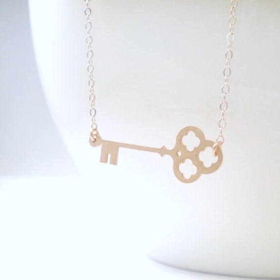 Sideways Skeleton Key Necklace