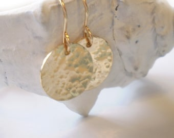 Beach Day Earrings - Simple Hammered Gold Filled Disc on Gold Filled Earwires