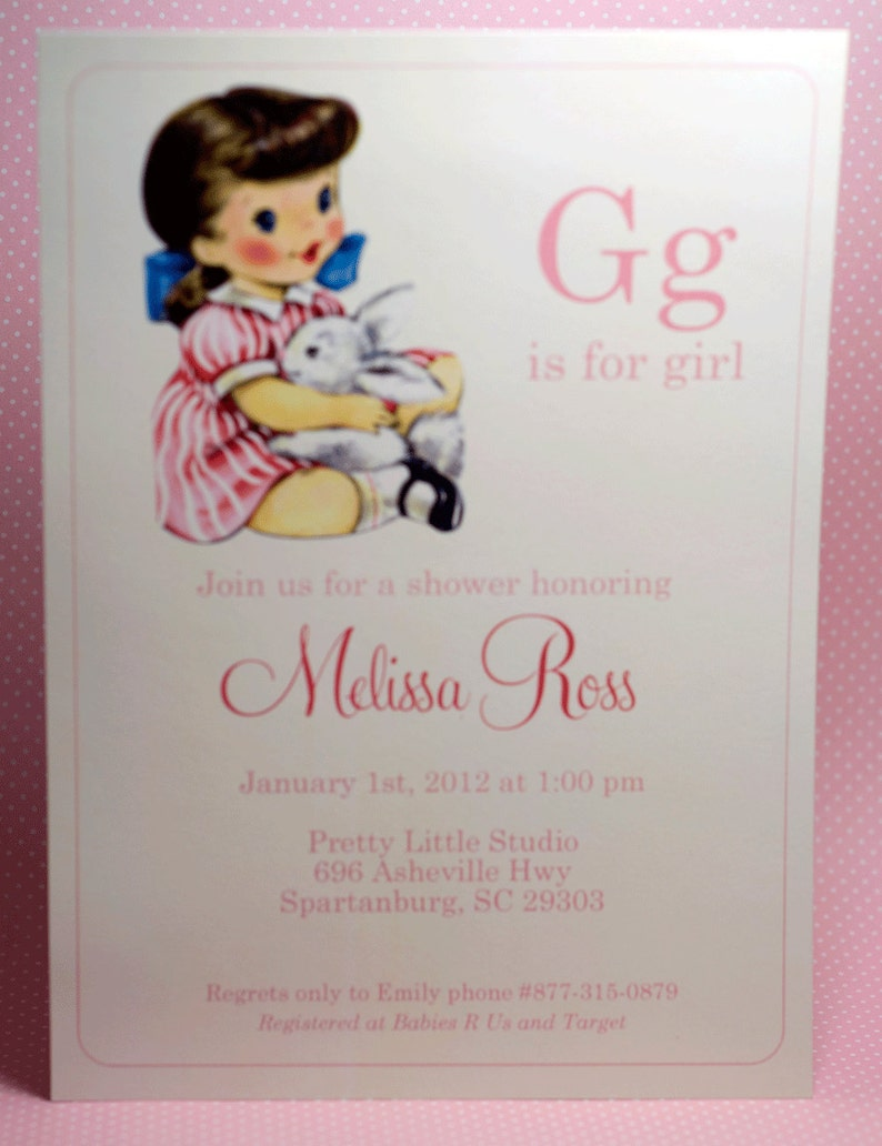 DIGITAL G is for Girl Baby Girl Shower Invitation