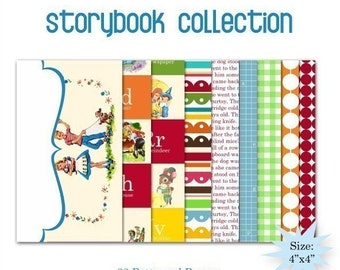 Story Book Mini Pattern Papers - Set of 34 -  4x4
