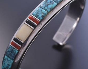 8bd13618b68 Vintage Silver & Turquoise Multistone Navajo Inlay Bracelet Bitsoi Russell  9A11D