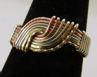 Sterling Silver, Copper and Gold-Filled Hug Ring, Wire Wrapped Ring, Tri-Metal Ring