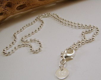 Sterling Silver Ball Chain - 16, 18, 20, 22,  26, 28 and 30 inches available - stamped 925