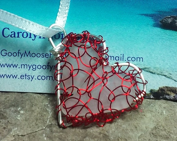 Lake Michigan Beach Glass - Sea Glass Heart Ornament - Valentine Gift with Red Wire - South Shore Beach Glass by Goofy Moose