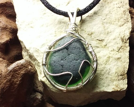 Sea Glass Jewelry - Green and Silver Wire-wrapped Necklace