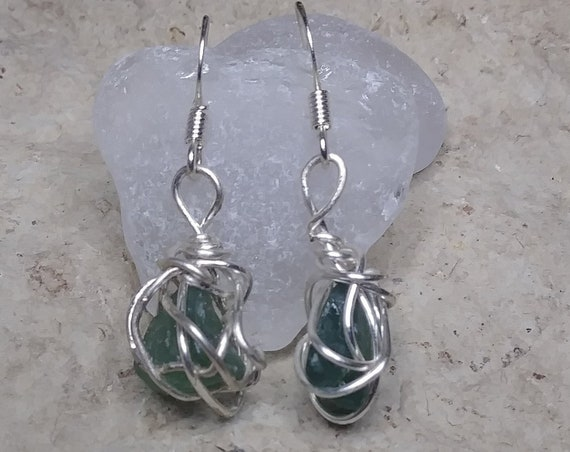 Seaglass Earrings with Green French Mediterranean Sea Glass