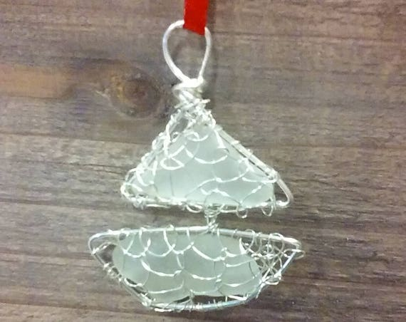 Sailboat Ornament with Sea Glass - South Shore Beach Glass by Goofy Moose