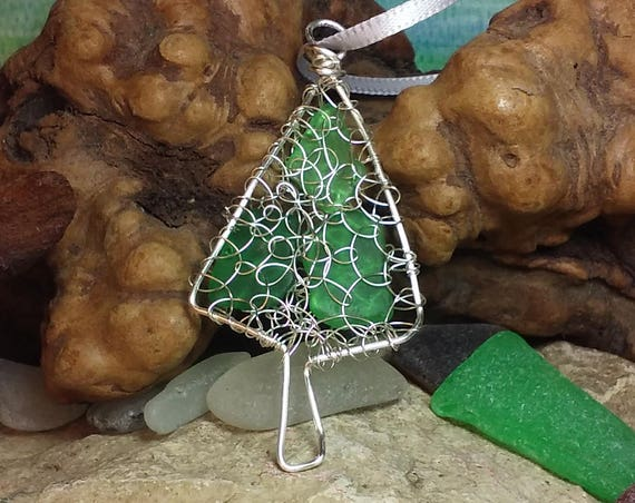 Christmas Tree Sea Glass Ornament / Beach Glass and Silver Wire